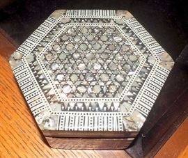"Egyptian Accents Mother of Pearl Inlaid Jewelry Box, Hand Crafted From Beechwood, 1.75""T x 3.75""W x 2.5""D and Mother of Pearl Inlaid Wood Hexagon Jewelry Box"