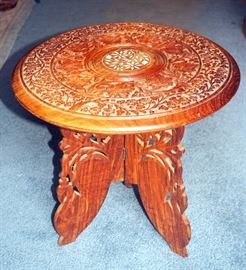 "Hand Carved Ornate Side Table, Inlaid, Floral Motif With Detachable Hinged Tripod Style Base, Made in India 15""T x 15""Dia, Unique, Impressive Piece"