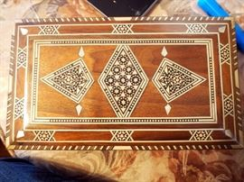 "Mother of Pearl and Stone Inlaid Wood Jewelry Box, 2.25""T x 9.25""W x 5.25""D, With Contents"