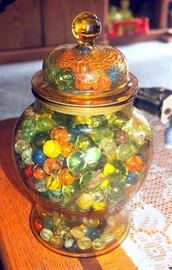 Glass Marble Collection in Amber Depression Glass Cookie/Biscuit Jar, Marbles Believed Antique