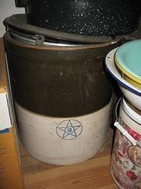 Large stoneware crock.