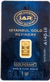 Lot 48 - Coin 1 Gr. Gold Bar Certified Istanbul Gold Refine