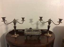 Silver Candelabra's & Etched Bird Sweet Meat Dish!!