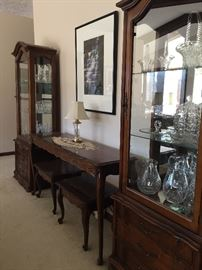 Cherry cabinets and sofa table