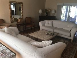 Pair white sofas, coffee table