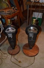 Pair of vintage parking meter lamps.