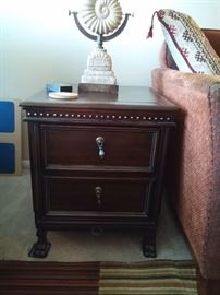 Masculine Leather & Wood Side Table with 2 drawers