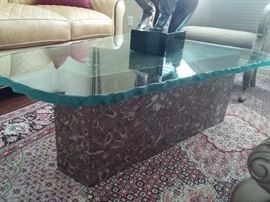 Gorgeous Heavy Cut glass table with marble base. Hand Knotted Silk & Wool Rug