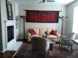 """Hand Woven wall Tapestry from Poland. Fine Arts """"Penzance""""Matching bronze Torchier Floor Lamps. Set of Casa Stradivari Upholstered Chairs"""