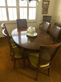 lovely vintage dining room table and 8 chairs