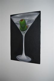 Martini-related decor including paintings, posters, prints, lamps, etc