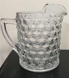 Heavy Thick Glass Fostoria Vintage Pitcher (also have cream & sugar)