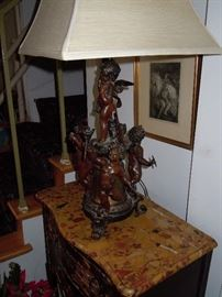 Beautiful lamp on a marble top table