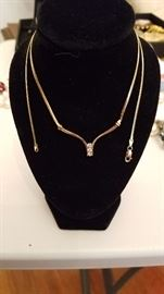 New 14 k Gold and Diamonds Necklace