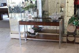 chrome and teak table