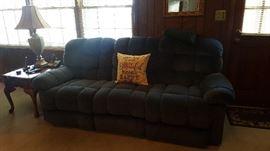 Blue Reclining Sofa