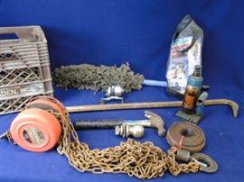Chain Hoist, Bottle Jack, Misc. Tools
