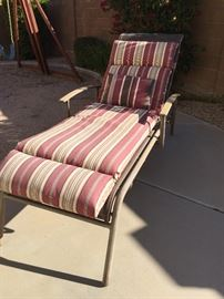 Outdoor wrought iron lounge chairs (3 matching) with custom Sunbrella cushions and matching decorative pillows