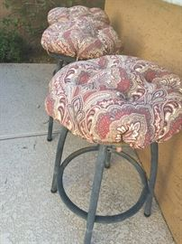 Outdoor cast iron low bar stools (4 matching) custom Sunbrella cushions