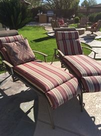 Lounge chairs with custom Sunbrella cushions and pillows