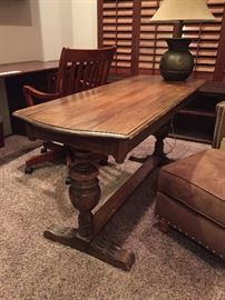 Vintage Jacobean 1800's Table with an Extra Leaf underneath