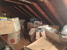 Attic with boxes of ???