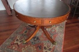 Leather top round table with 2 drawers
