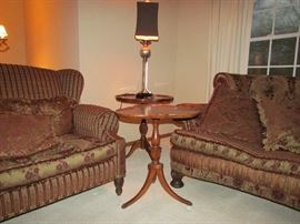 Carol Hicks EJ Victor Sofa and Loveseat.....How cute are the tables and lamp