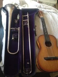 Trombone w/case  & Another Guitar