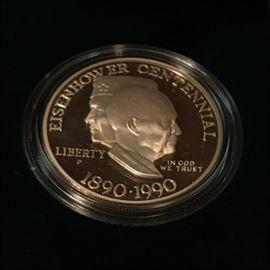 US Mint Eisenhower Centennial Uncirculated Silver Dollar in Box