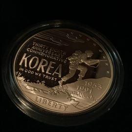 US Mint Korean War Memorial Uncirculated Silver Dollar in Box