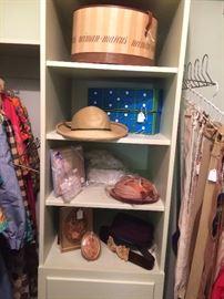 Hat boxes, hats, belts, clothes etc