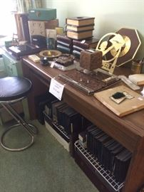 Desk; coin holders; office supplies; vintage stool