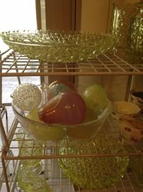 Daisy & button glassware and other yellow serving pieces
