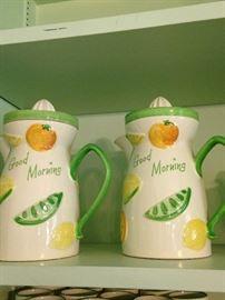 """Good Morning"" juice pitchers"