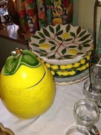 Darling cookie jar (lemon, no less) and decorative lemon serving plates