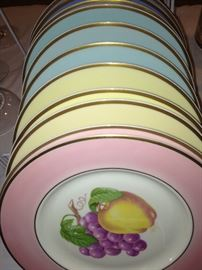 """""""Gold"""" rim fruit plates in assorted colors"""