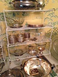 Huge assortment of silver plate coasters, bowls, platters, trivets, etc.