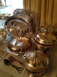Some of the other 75 silver plate serving pieces