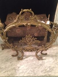 Exquisite antique French firescreen; brass andirons
