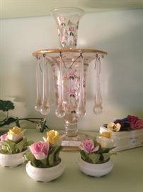 Luster candle holder/vase; English bone china roses by Coalport