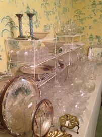 Lovely variety of silver plate trays and crystal