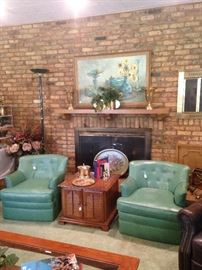 Leather matching chairs; side table and other decor