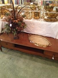 French Provencial extra long coffee table, brass tray, and floral arrangement