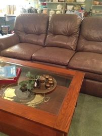 Brown 3-cushion sofa; Mission Style 2- tiered coffee table
