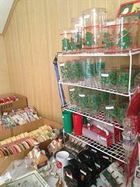 Christmas glasses and spools of ribbon