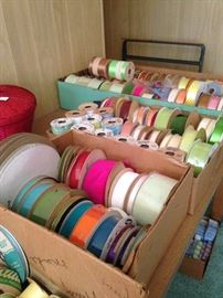Assorted spools of ribbon from her gift shops