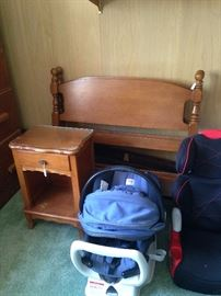 Twin bed and nightstand; baby carrier and carseat