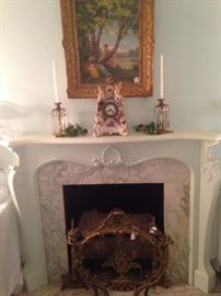 Original art; Meissen mantle clock; French firescreen