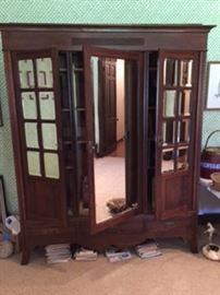 Mirrored Front French Linen Press or Bookcase